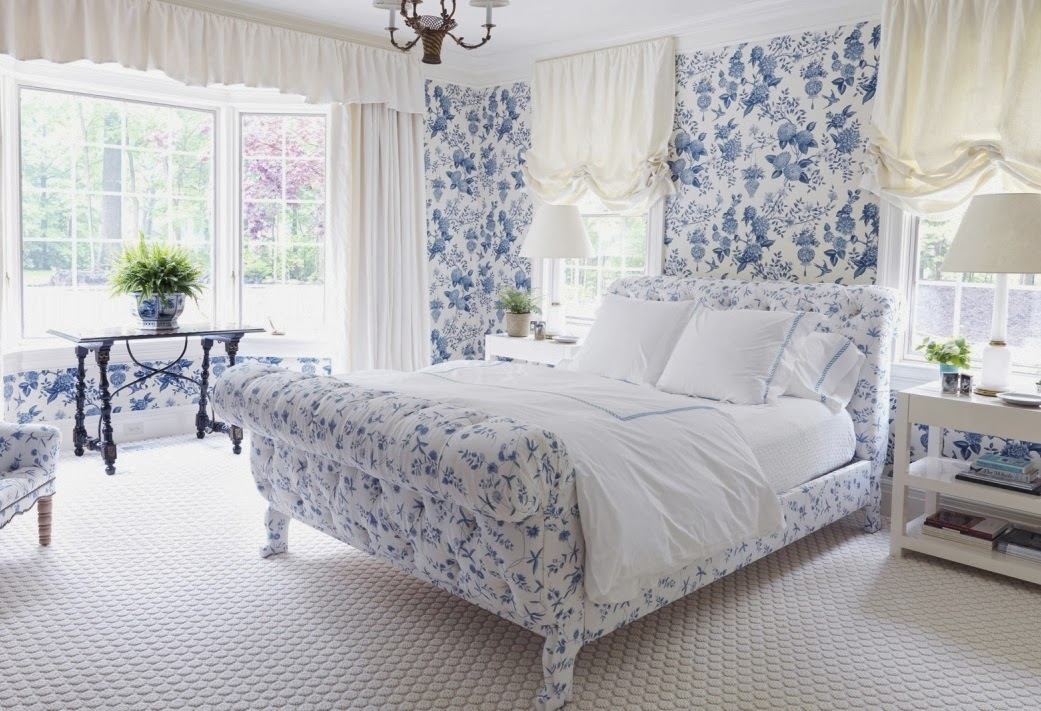 walls and upholstered furnishings in this cheery traditional bedroom 1041x711