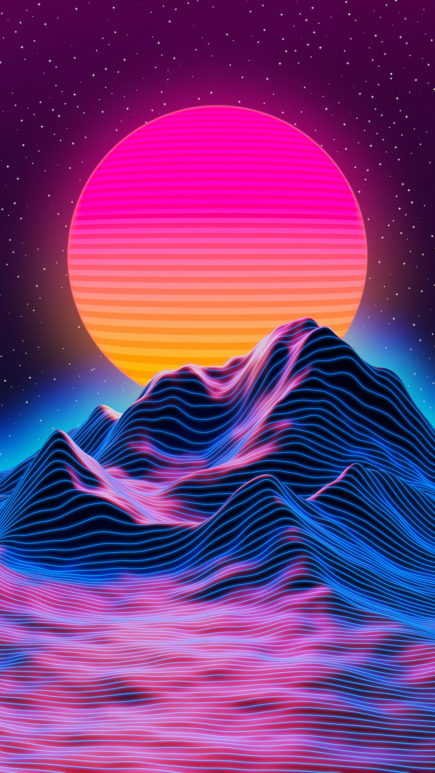 Retro sunset Blender GIMP Vaporwave wallpaper Trippy wallpaper 1440x2560