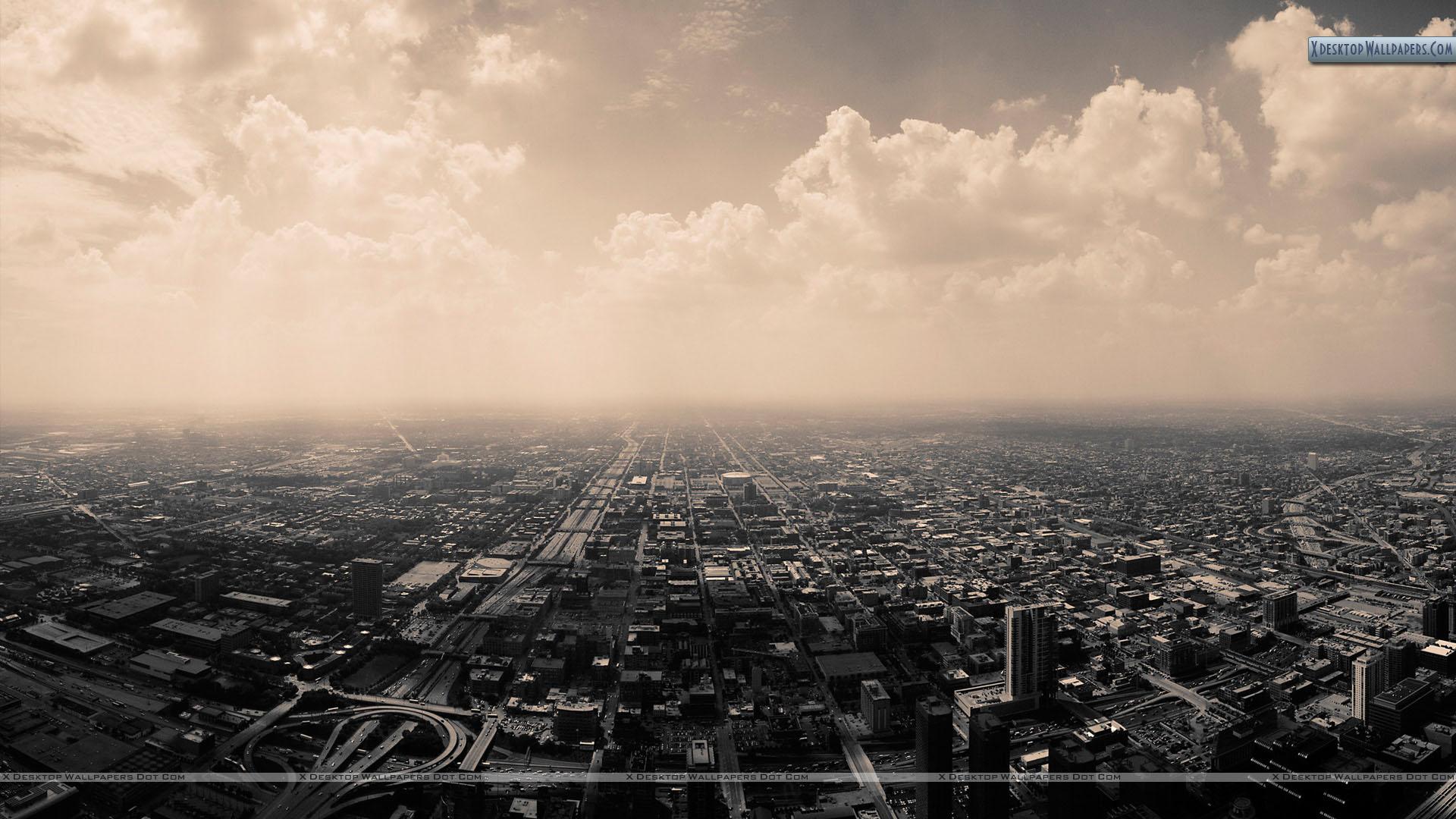 Top View Of Black White City Wallpaper 1920x1080
