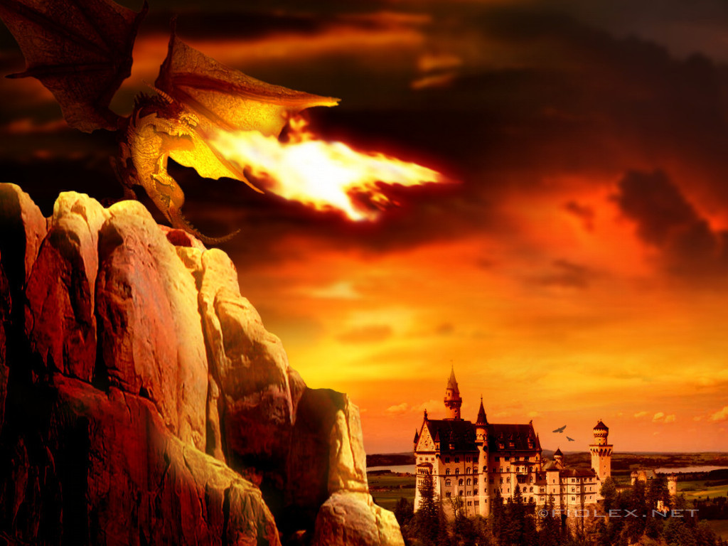cartoon picture Fire Dragon Wallpaper 1024x768