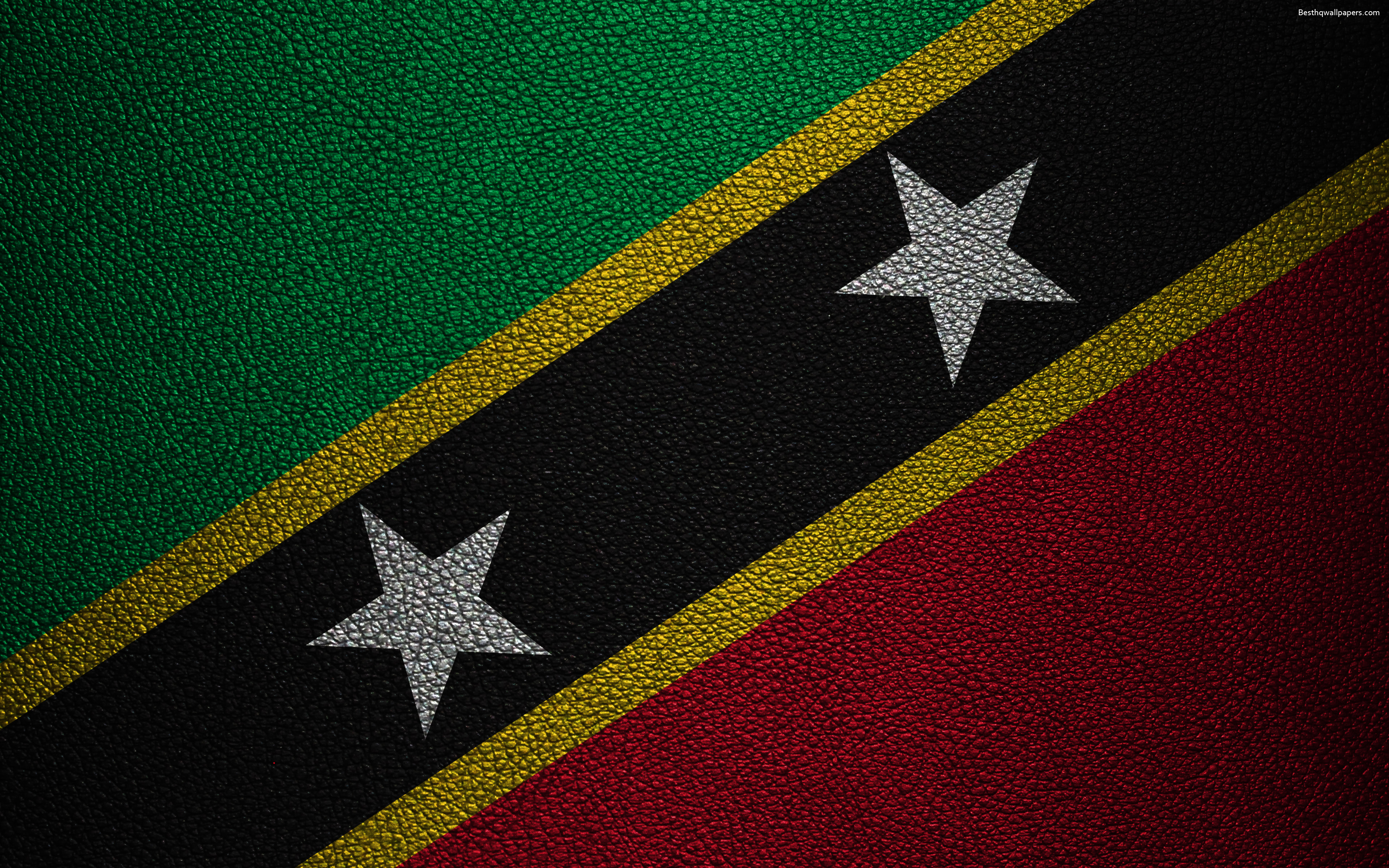 Download wallpapers Flag of Saint Kitts and Nevis 4k leather 3840x2400