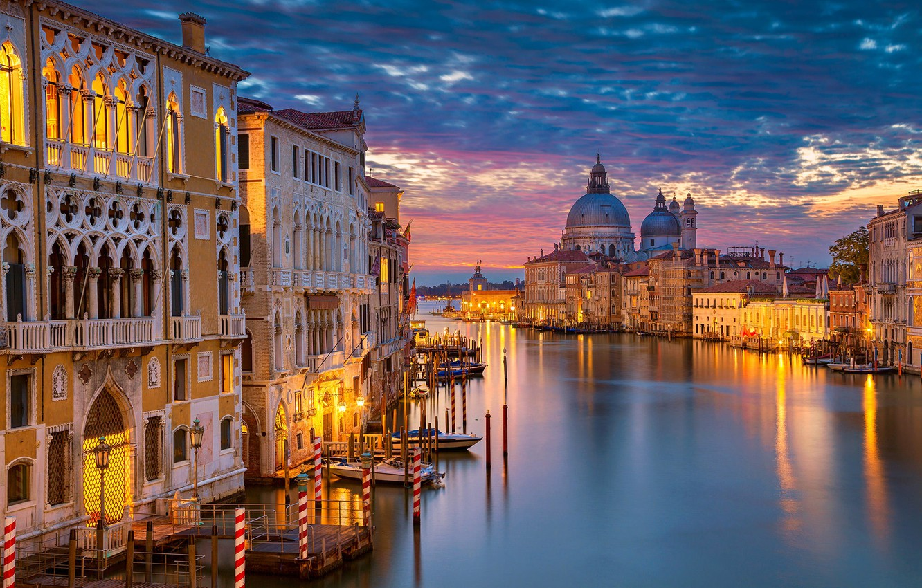 Wallpaper night lights home Italy Venice Cathedral channel 1332x850