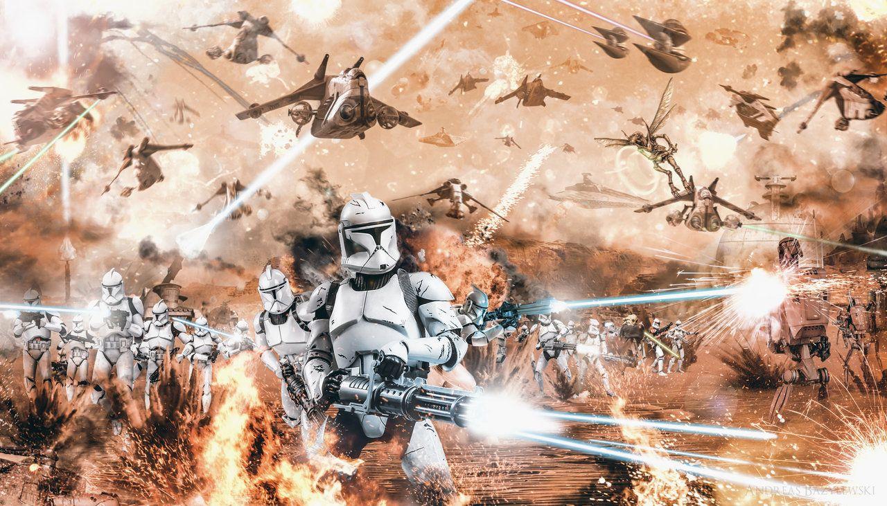 Battle of Geonosis Frontline by TDSOD Mural Star wars 1280x731