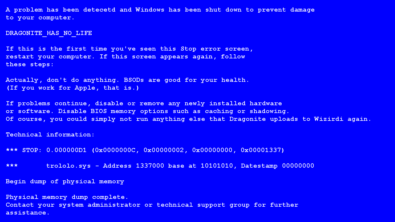 Fake Blue Screen of Death by Dimenticare 1366x768