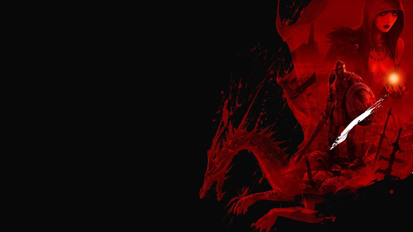 Black and White Wallpapers Dragon Age Blood Red Dragon Black Red 1600x900