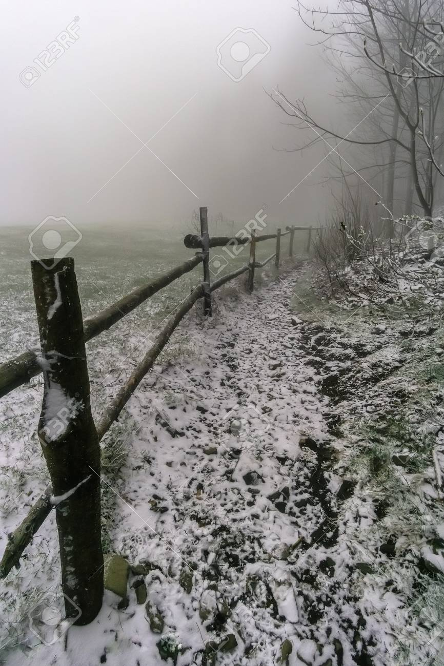 Winter Footpath Around Wooden Corral With Fog On Background Stock 866x1300