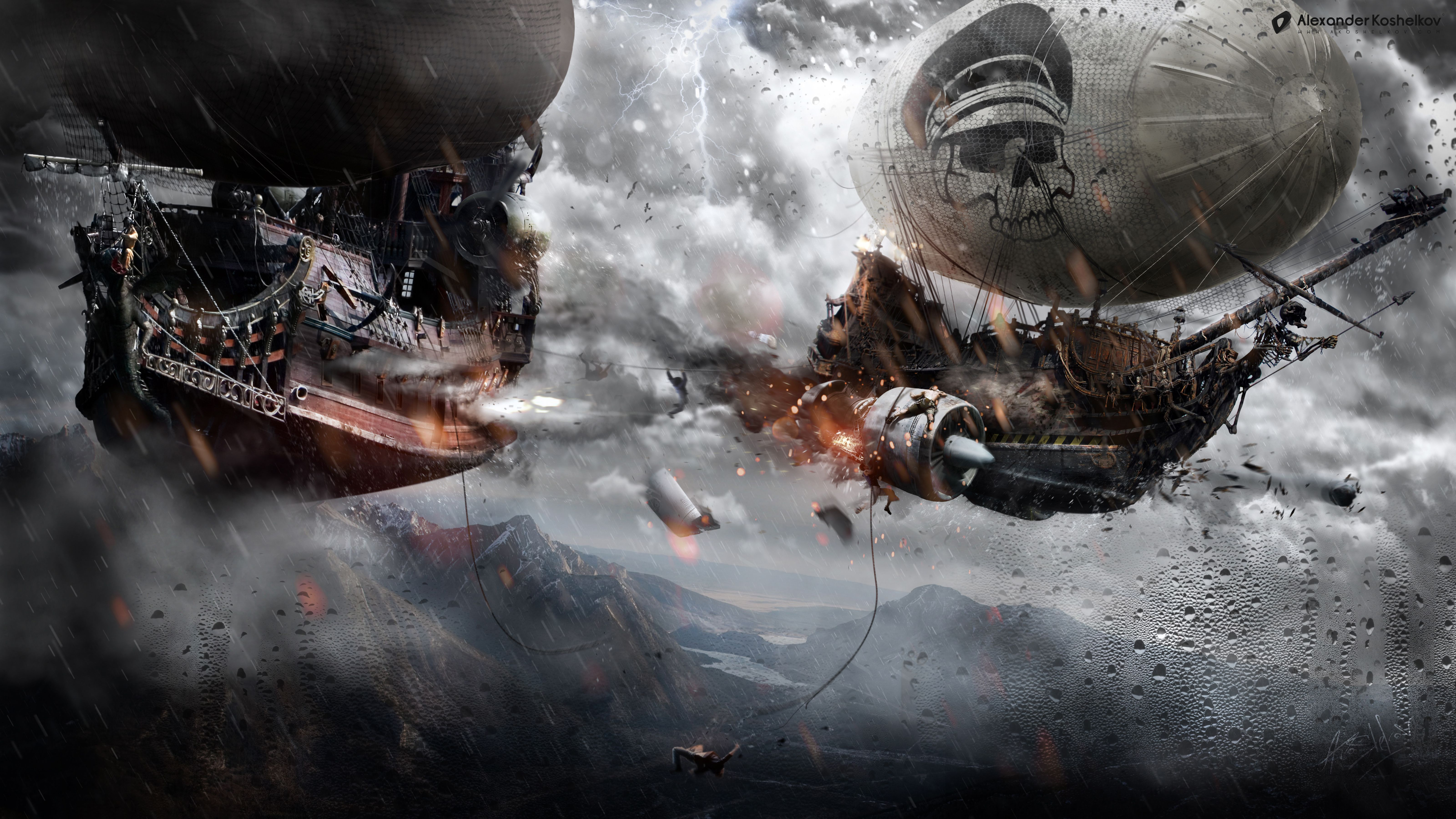 Ships Battle Flight Fantasy sci fi art pirate pirates ship wallpaper 6400x3600