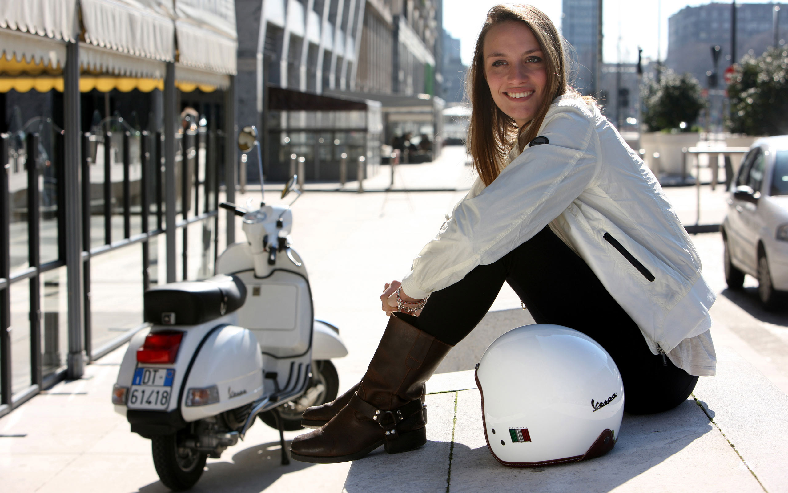 Vespa PX 125 and girl wallpapers and images   wallpapers pictures 2560x1600
