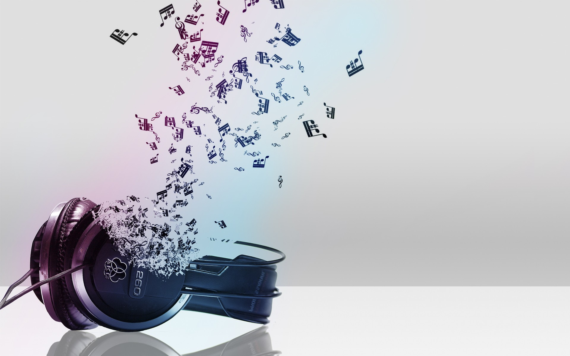 Headphones turning into musical notes Wallpaper 7234 1920x1200
