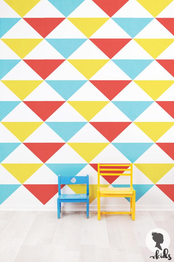 Triangle Pattern Removable Wallpaper L002 by LivettesKIDS on Etsy 570x855