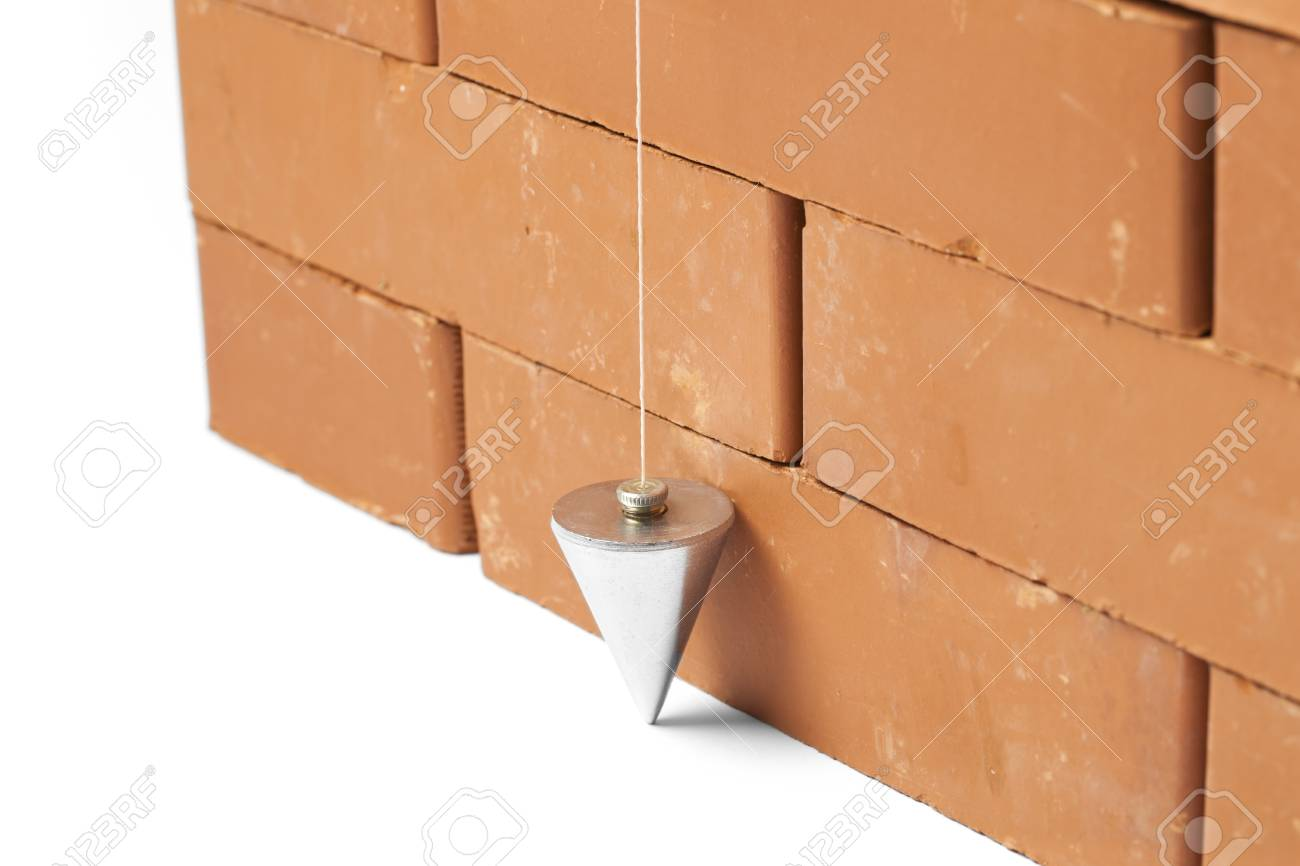 Bricks In Masonry With Touched Plum Bob For Vertical Line Isolated 1300x866