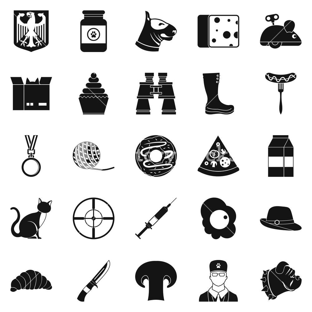 Dog icons set Simple set of 25 dog icons for web isolated on 1000x1000