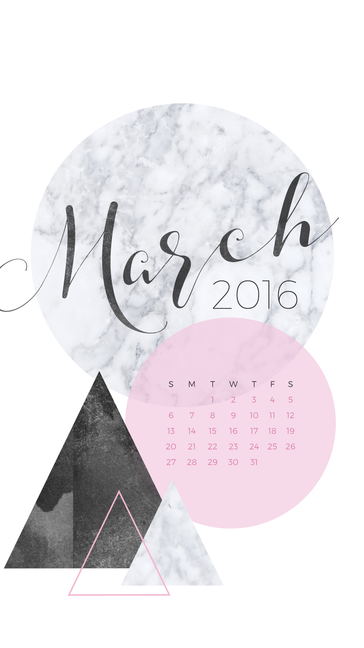 March 2016 Desktop Calendar Wallpaper Paper Leaf 1242x2208