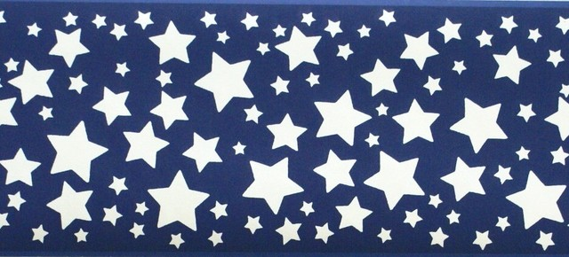 Blue Stars Wallpaper Border Roll   Traditional   Wallpaper   by 640x290