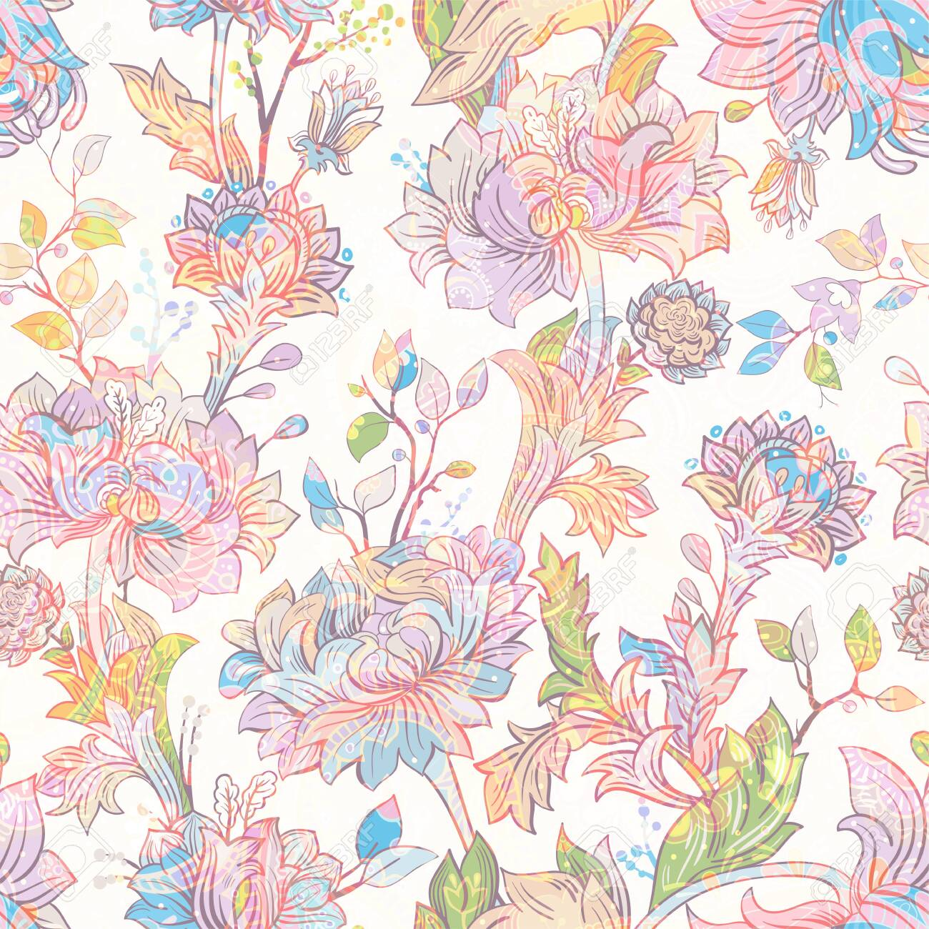 Jacobean Seamless Pattern Flowers Background Ethnic Style 1300x1300