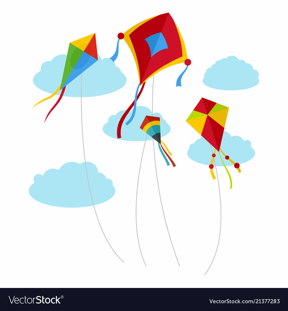 Kites fly in the sky background flat style Vector Image 1000x1080