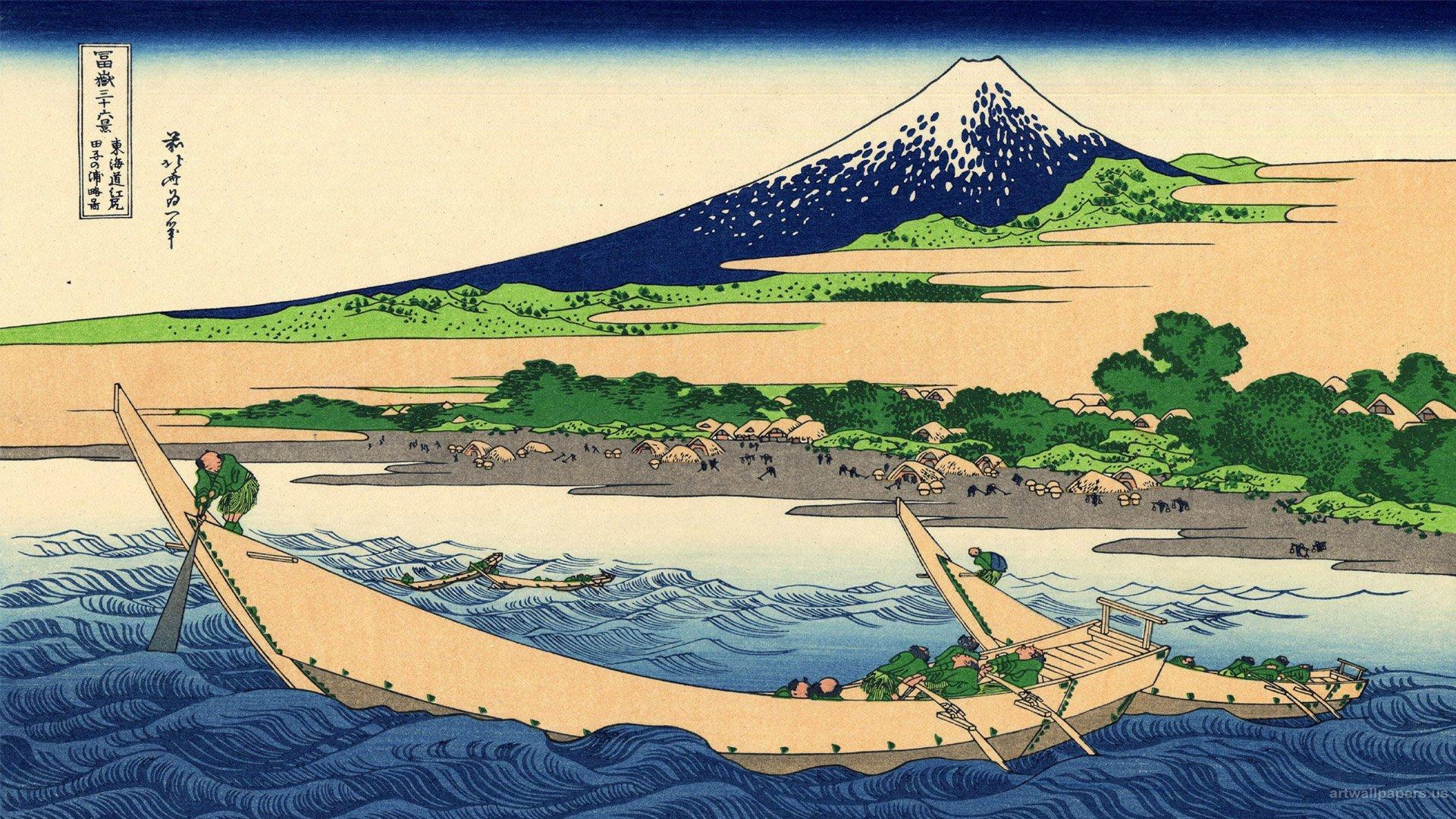 Hokusai Wallpaper The Great Wave at Kanagawa Art Print Wallpapers 1920x1080