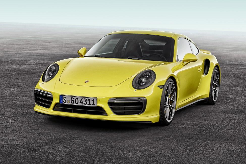 Porsche 911 Turbo S Yellow Front View   Stock Photos Images 975x650