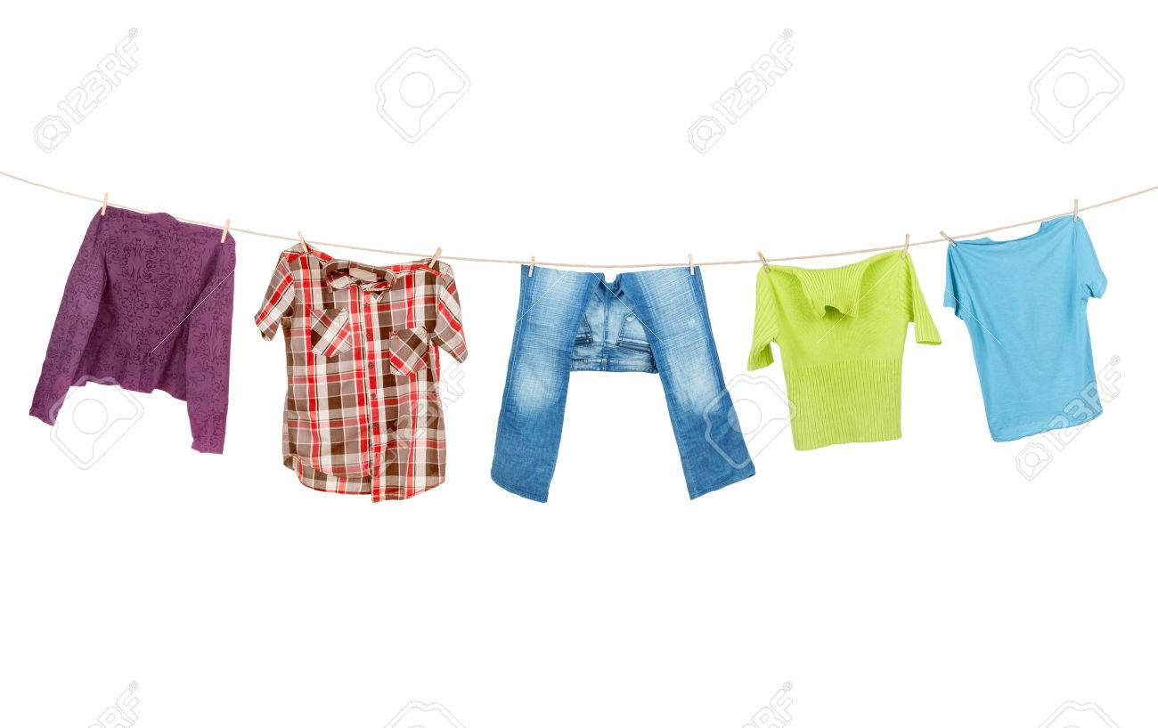 Clothes Hanging Isolated On White Background Stock Photo Picture 1300x818