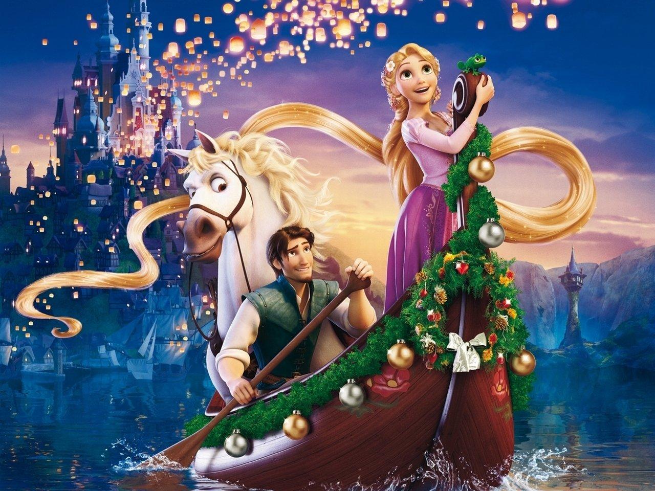 Floating Lanterns Pascal Rapunzel Tangled HD Background Wallpaper 1280x960