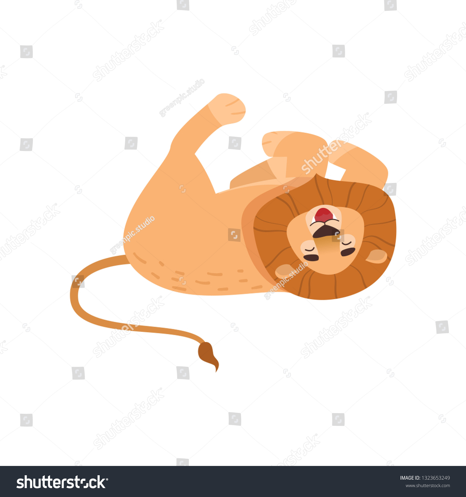 Big Lion Tumbling Isolated On White Stock Vector Royalty 1500x1600