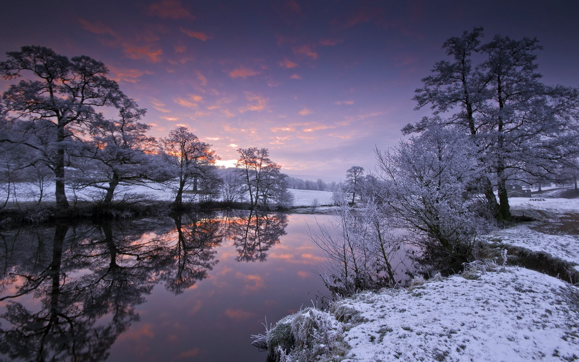 Free Download Winter Snow Reflection Water Sky Clouds Sunset