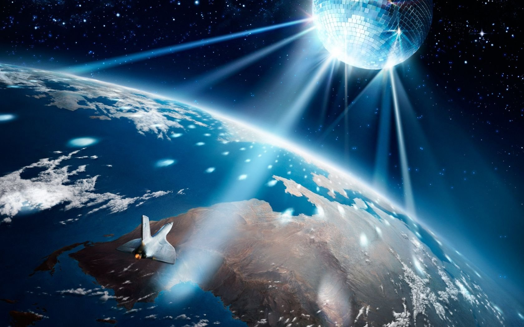 Disco Ball Lighting Earth Wallpaper 1680x1050 pixel Windows HD 1680x1050