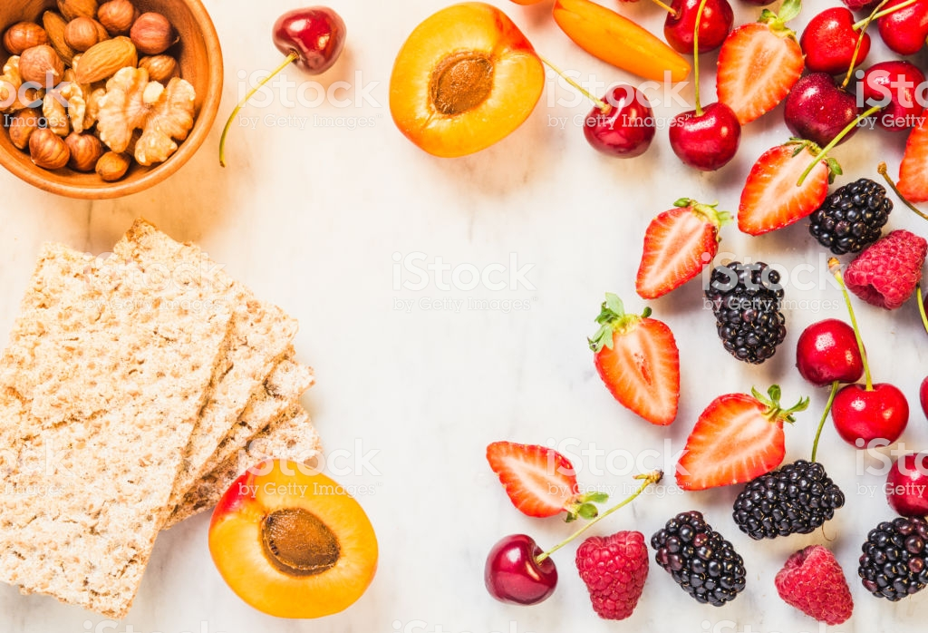 Fruits Berries And Whole Grain Crisp Bread Toast On White 1024x698