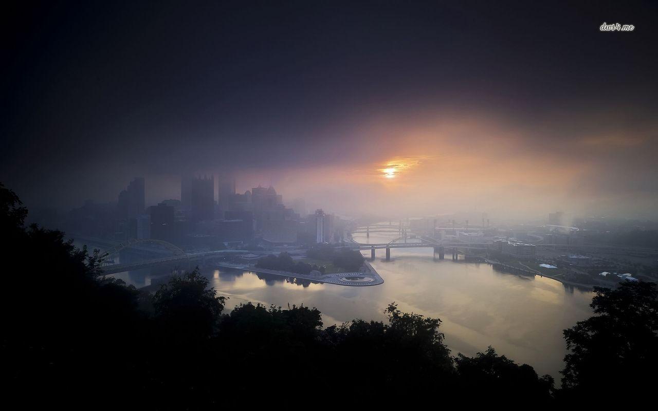 foggy city wallpaper
