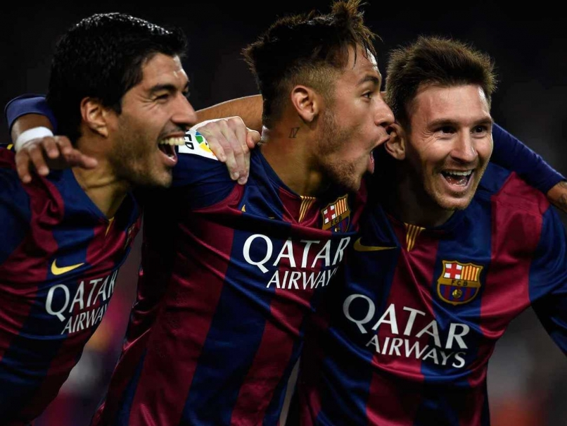 Luis Suarez Neymar and Lionel Messi celebrate Barcelona win against 806x605