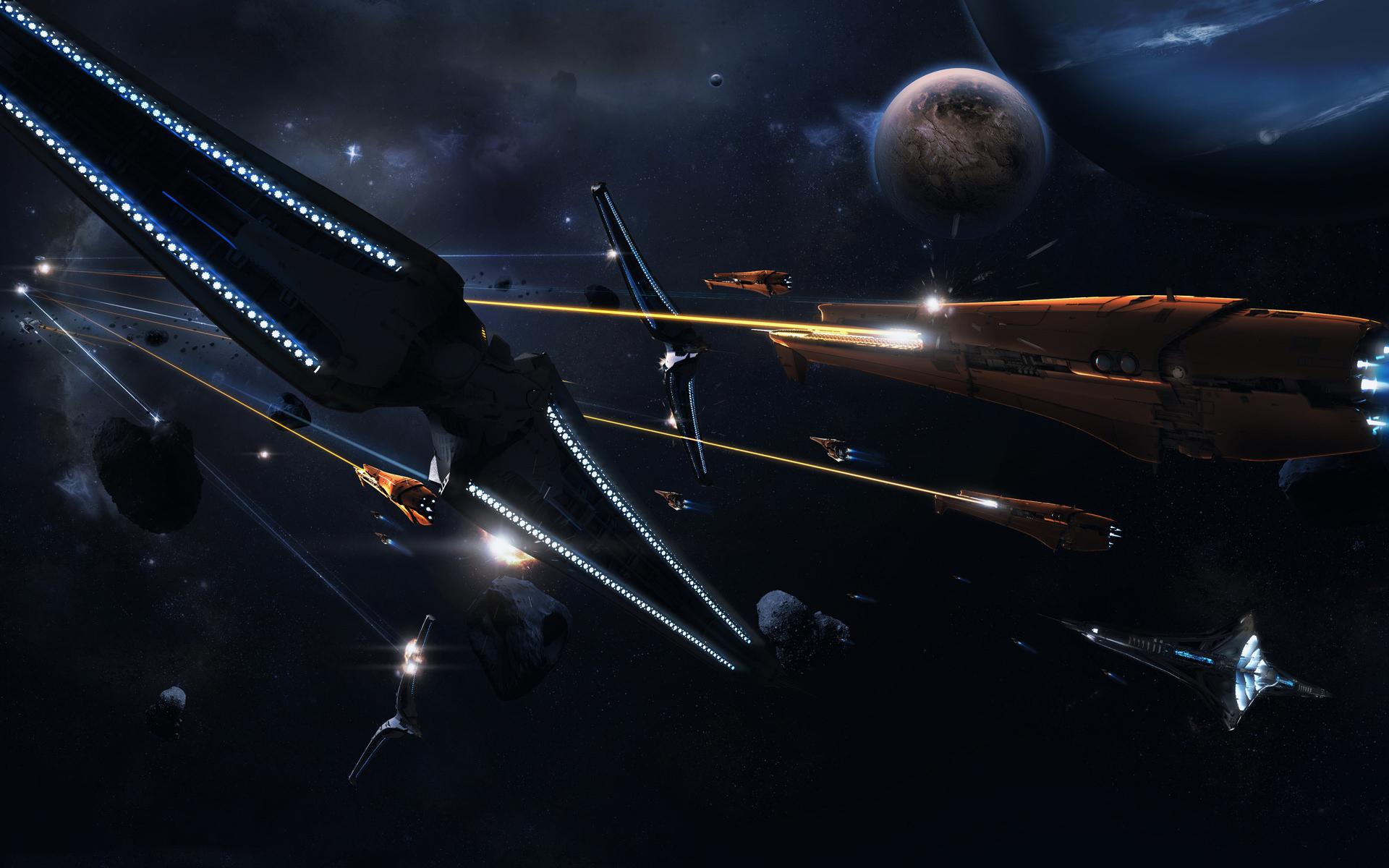 Space Battle battle black planet space starship 1920x1200
