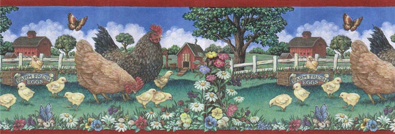 COUNTRY CHICKSHEN FARM Wallpaper Border 66116210b eBay 770x262