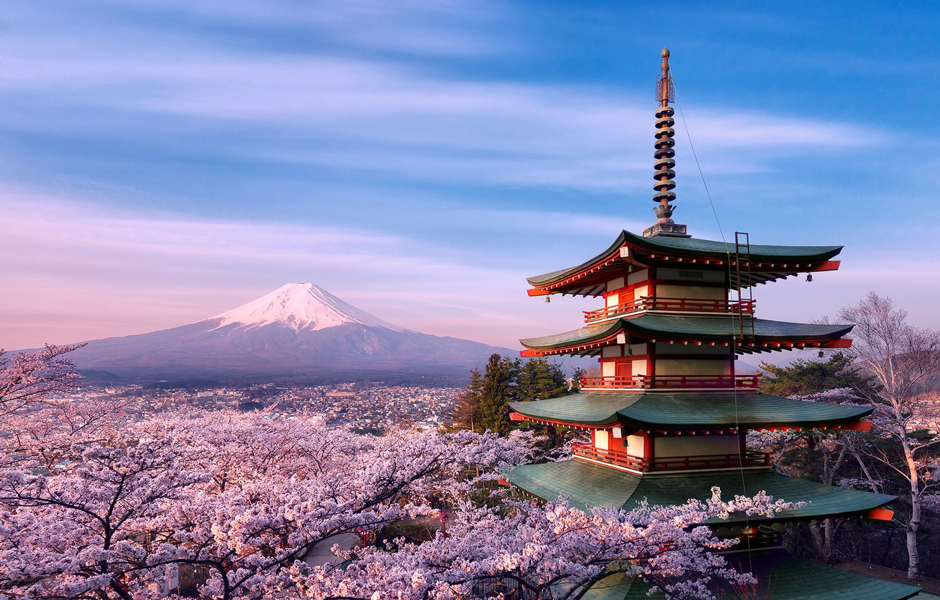 Wallpaper trees flowers house mountain spring morning Japan 1332x850