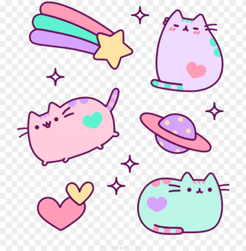 kitty cat illustration cute kawaii pusheen transparent   pusheen 840x859