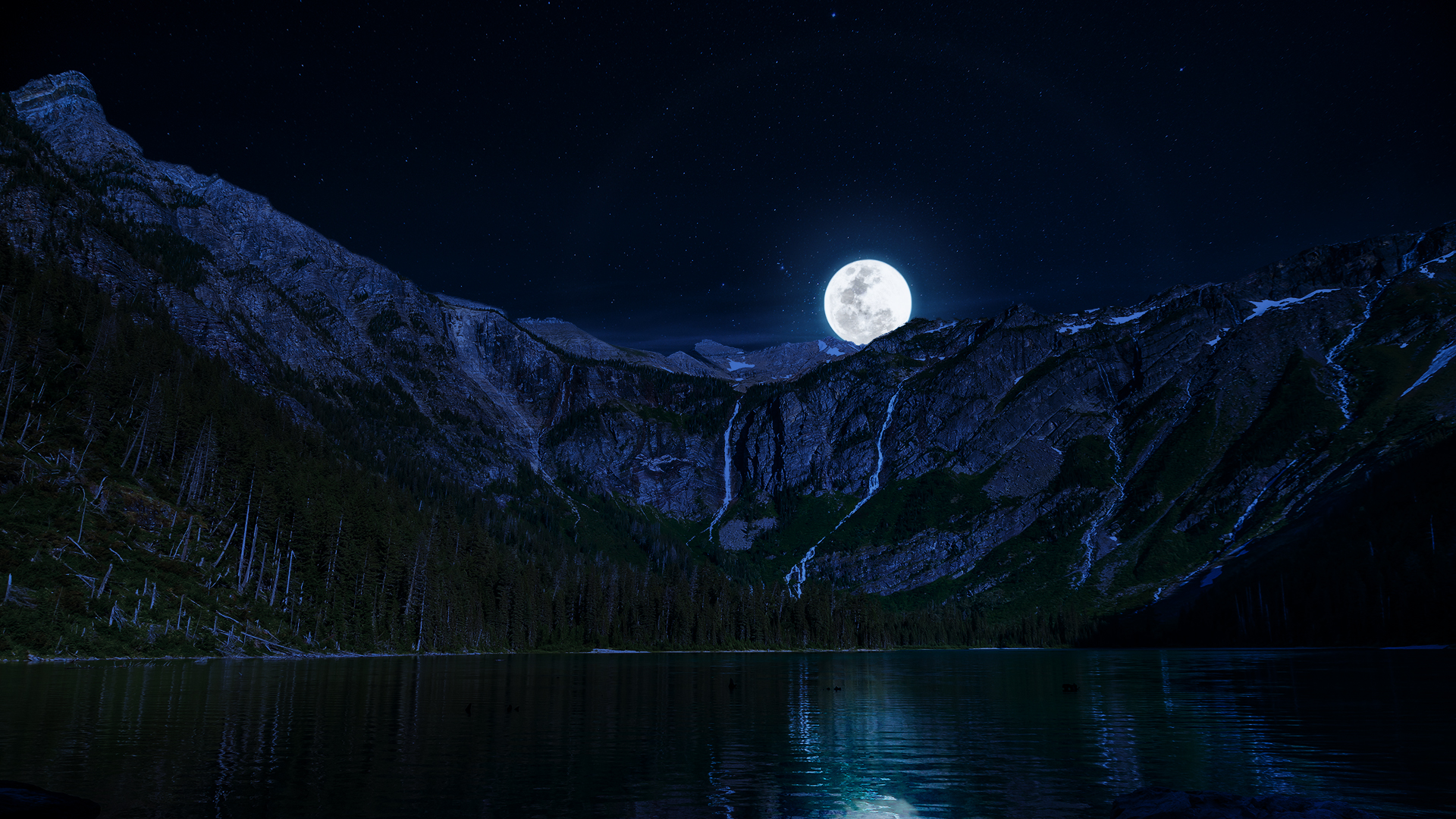 Lake Night Moon Mountains wallpaper background 1920x1080
