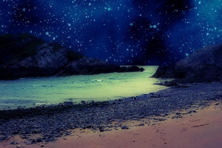 Blue Skyed Beach Background by Aimee Valentine Art 720x479
