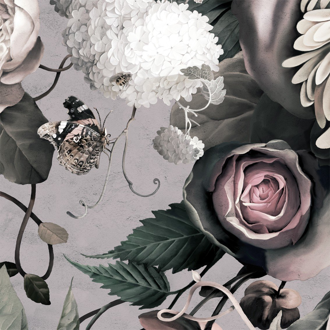 Free Download Dark Floral Ii Gray Fresco 1134x1134 For Your
