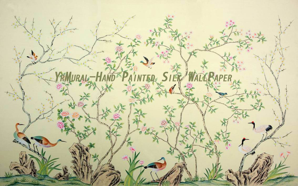 Hand Painted Chinese Style Silk Wall Mural YRS 004 jpg 1134x710
