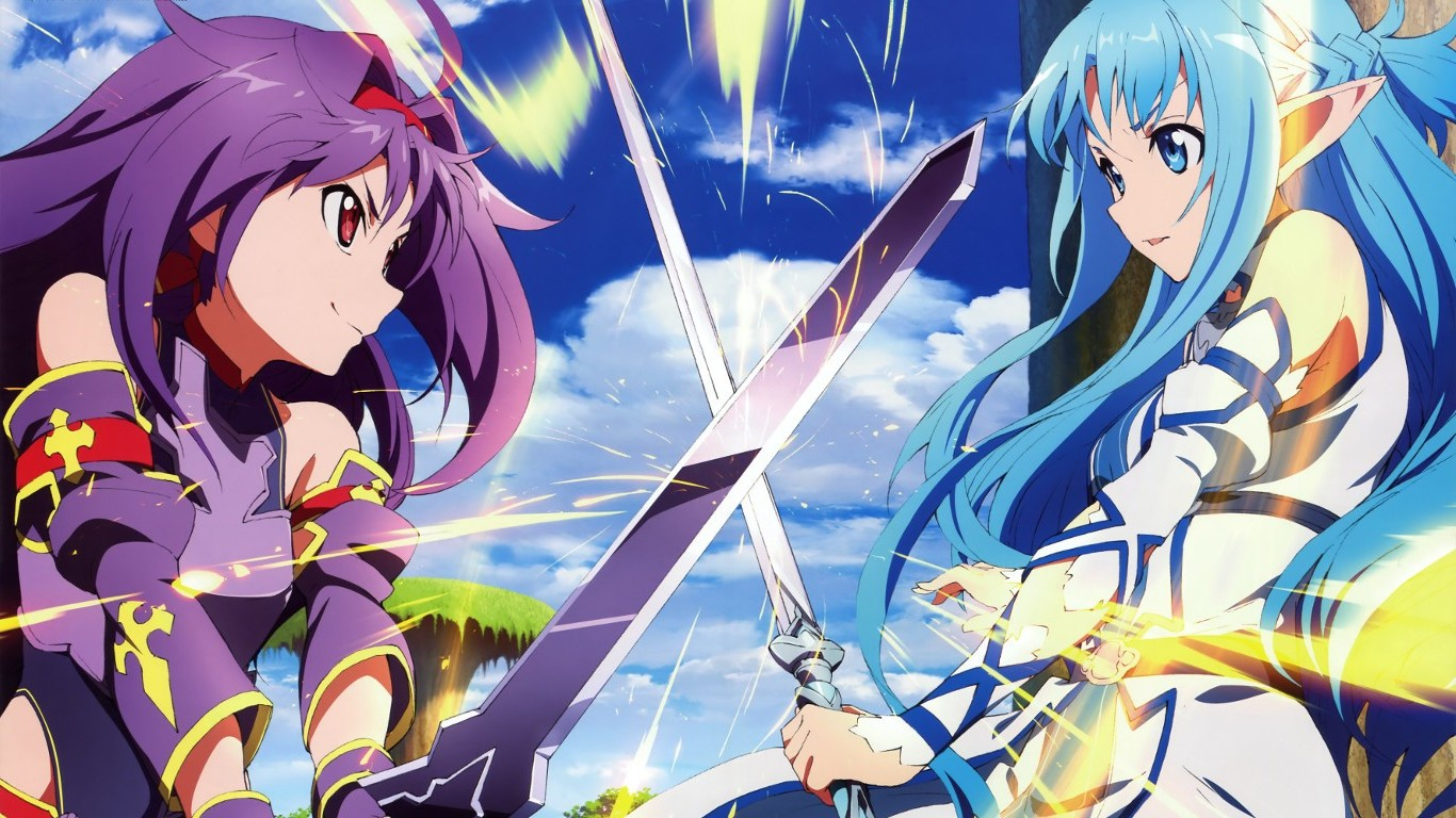 download anime Sword Art Online Yuuki Asuna Konno Yuuki 1366x768
