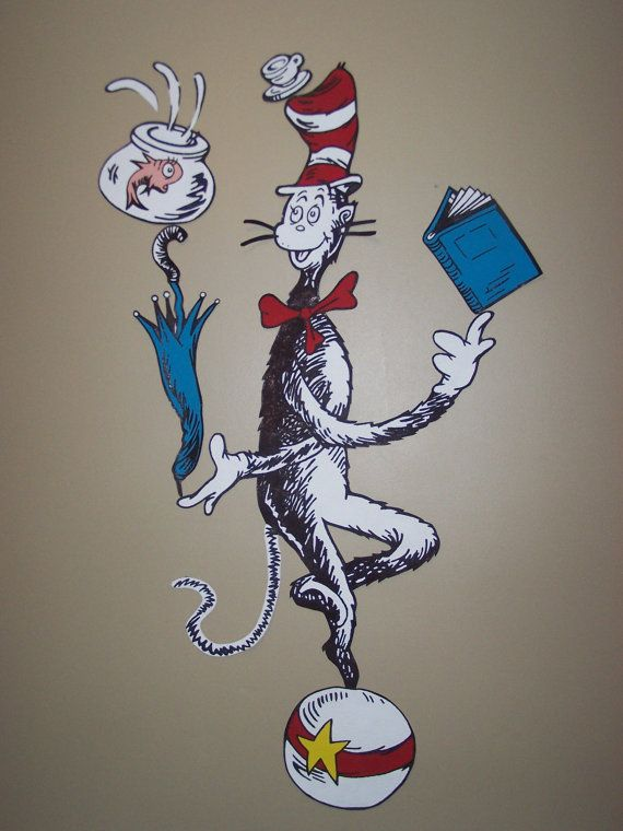 Handpainted HUGE XL Cat In The Hat Balancing Act Dr Seuss 570x760