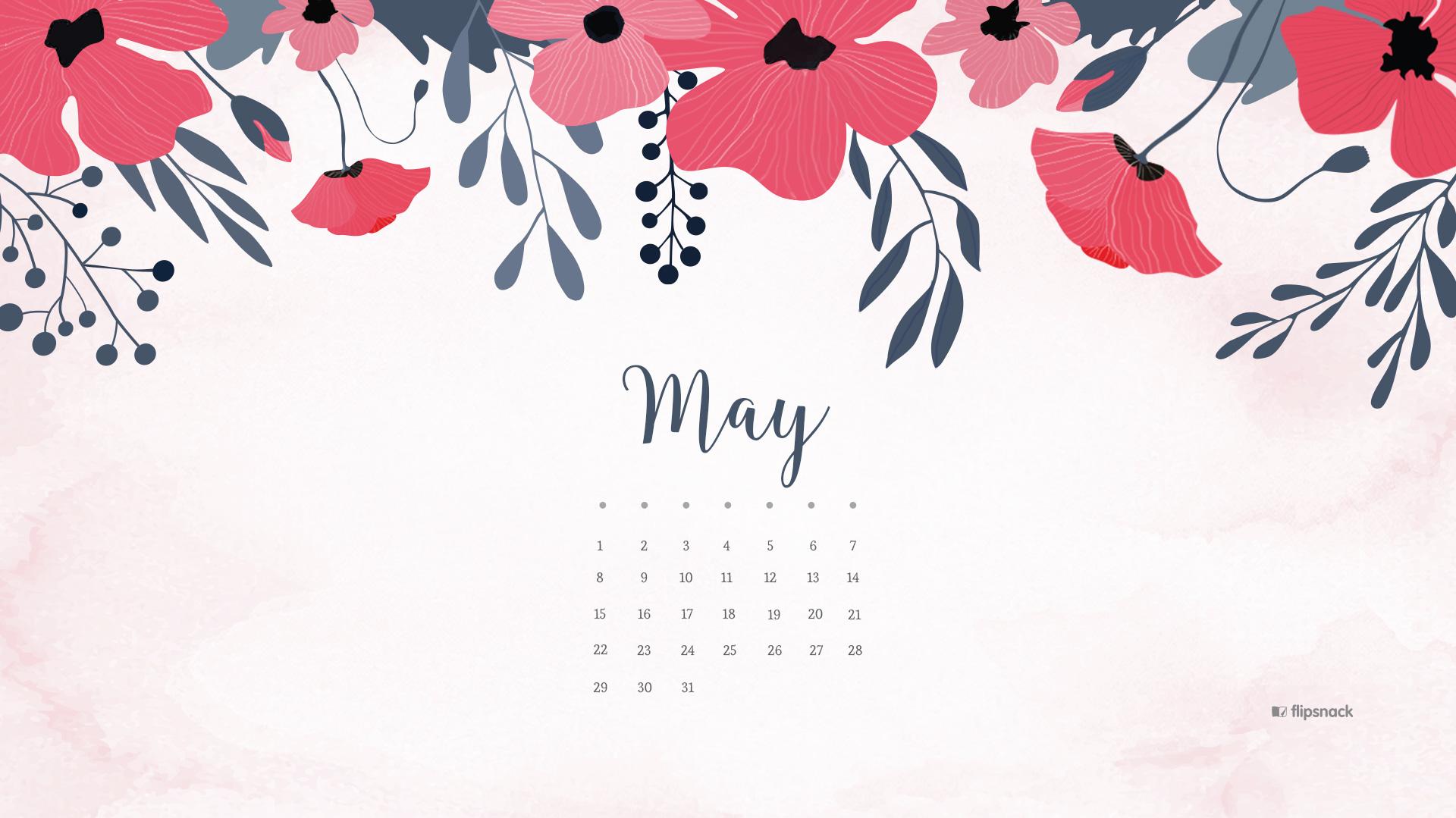 May 2019 Desktop Calendar Wallpaper 1920x1079