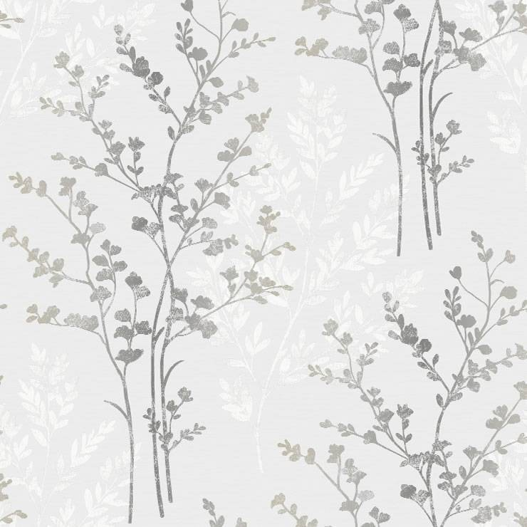 Silver White Grey   250404   Fern   Motif   Arthouse Wallpaper 740x740