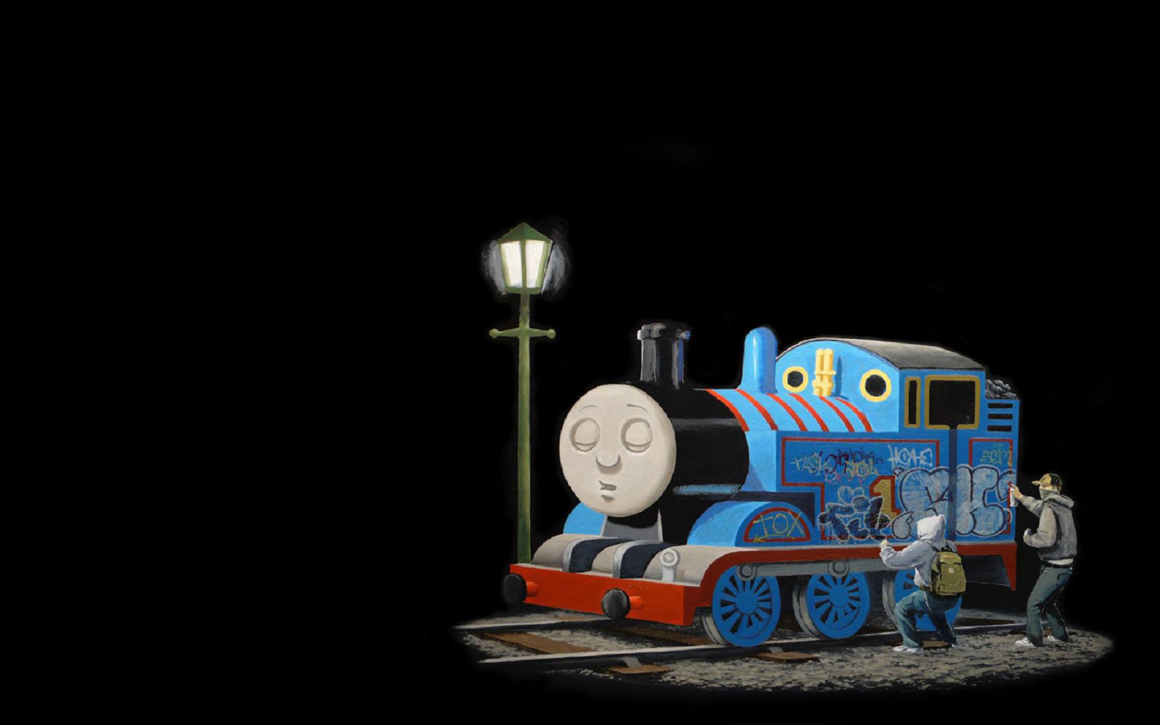 Wallpaper Banksy train graphics graffiti Thomas and Friends 1680x1050