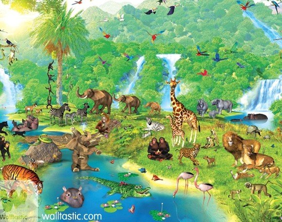 uk childrens wallpaper mural walltastic JUNGLE ADVENTURE 100 paper 579x455