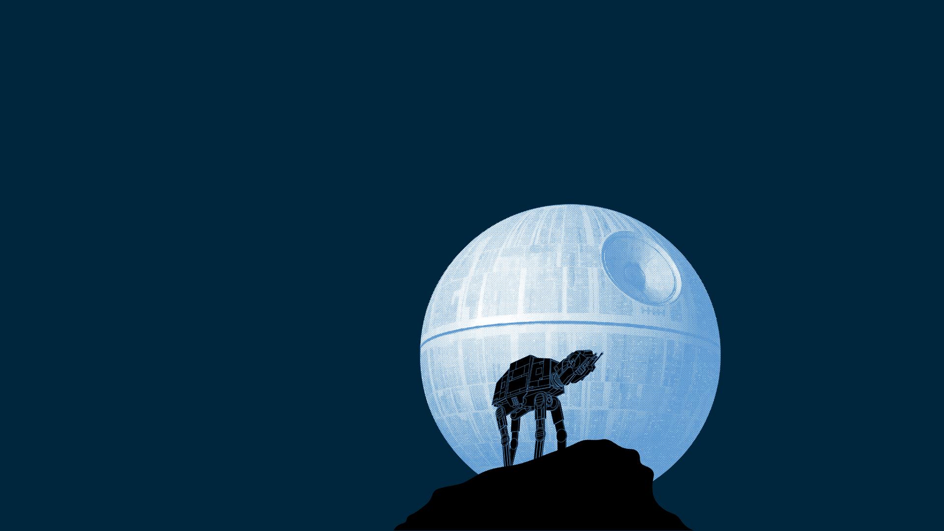 Death Star Walker Blue Moon star wars humor wallpaper 1920x1080 1920x1080