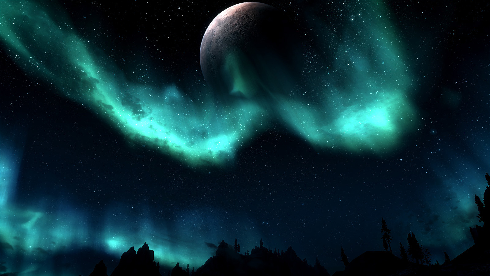 Skyrim NightSky Lights   Desktop Wallpaper 1600x900