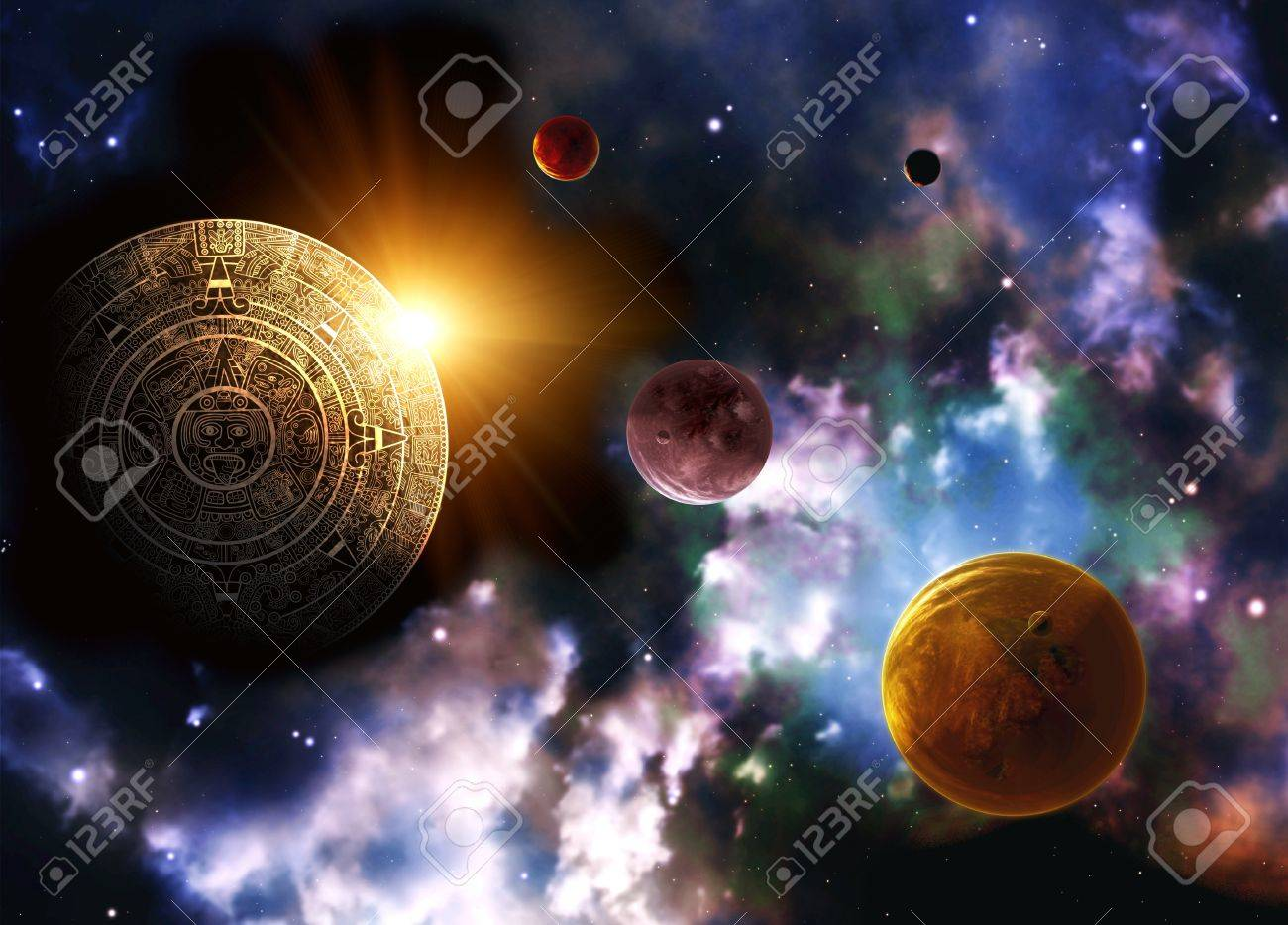 Maya Prophecy Horizontal Background Space Scene Stock Photo 1300x934