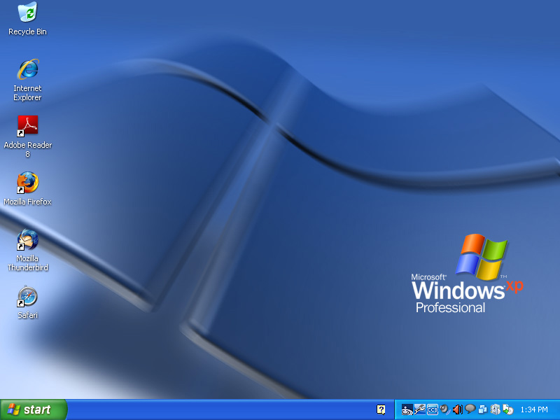 If you are running Windows XP your desktop will look similar to this 800x600