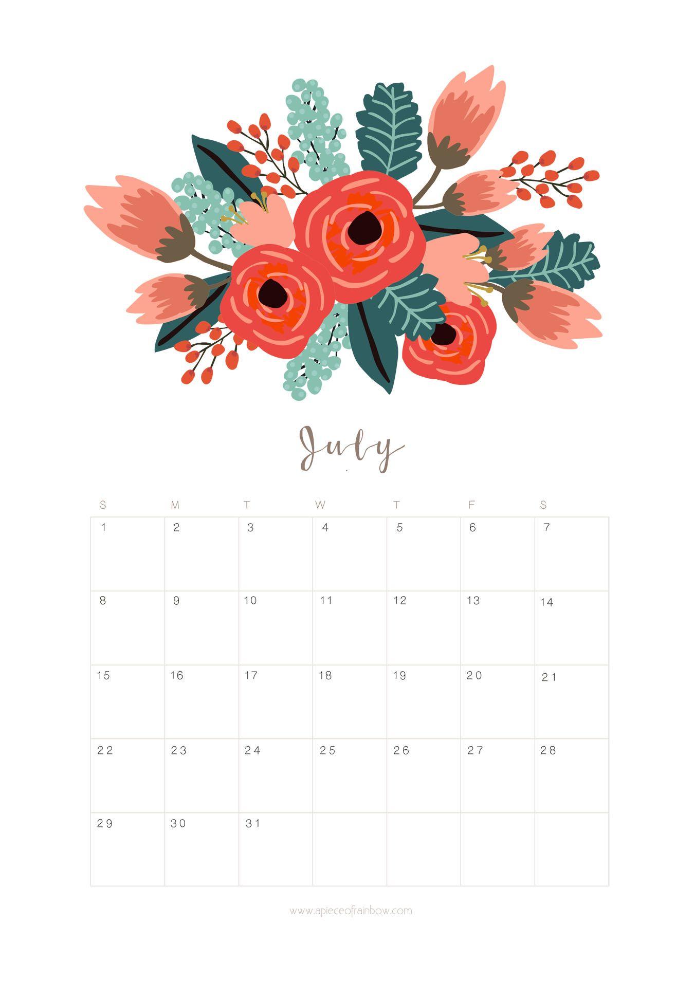 Printable July 2018 Calendar Monthly Planner Flower Design 1350x1909