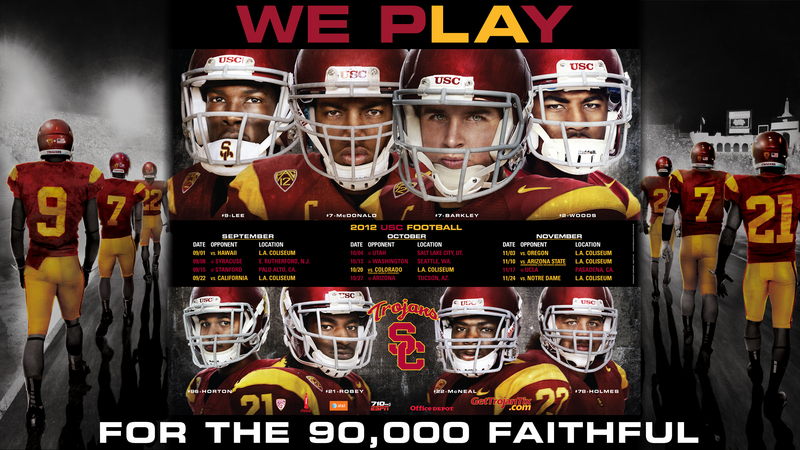 2017 USC TROJANS FOOTBALL SCHEDULE POSTER SPRING EDITION